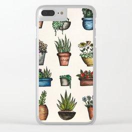 Cute lil pot plants Clear iPhone Case