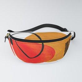 Mid Century Modern Abstract Vintage Pop Art Space Age Pattern Orange Yellow Black Orbit Accent Fanny Pack