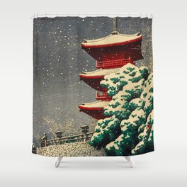 Japanese Woodblock Print Winter Snow Red Pagoda Green Tree Beautiful Composition Shower Curtain
