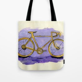 Yellow Bicycle on Purple Tote Bag