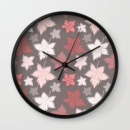 Maple Leaves - Dusty Rose Wall Clock