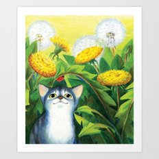 Curious kitten Art Print