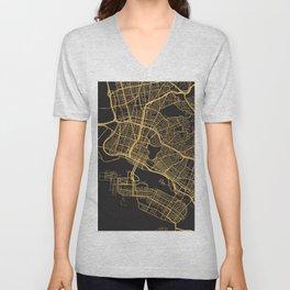 OAKLAND CALIFORNIA GOLD ON BLACK CITY MAP Unisex V-Neck