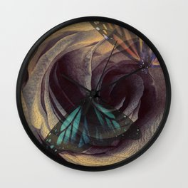 Rose Butterfly Modern Cottage Chic Bedroom Bathroom Art A618 Wall Clock