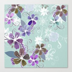 Summer blossom, blue and purple Canvas Print