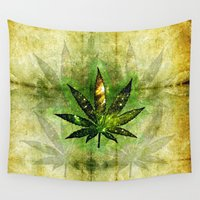 marijuana Wall Tapestries featuring Marijuana Leaf - Design 3 by Spooky Dooky