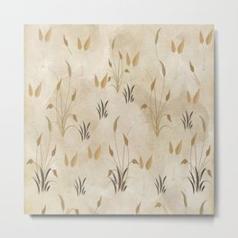 Lovely Botanical Leaves in Taupe Metal Print