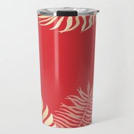 Tropical Leaves Poppy Red Rainforest Palm Beach Cottage Decor Travel Mug