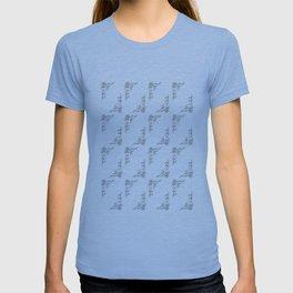 Inky black & white flower pattern T-shirt