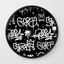 Black and White Graffiti Wall Clock