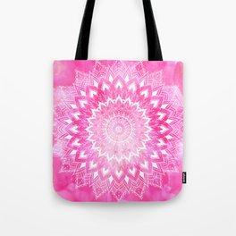 Boho chic white floral mandala on neon pink watercolor tie dye Tote Bag