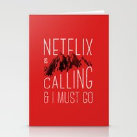 netflix Stationery Cards featuring Netflix is calling by Zeke Tucker