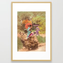 Geisha in the garden Framed Art Print
