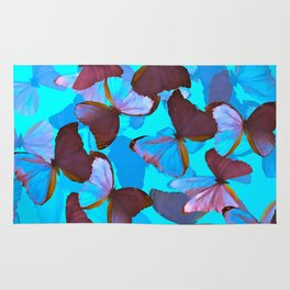Shiny Blue And Pink Butterflies On A Turquoise Background #decor #society6 #pivivikstrm Rug