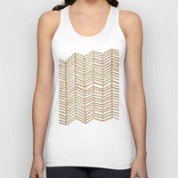 herringbone Tank Tops featuring Kraft Herringbone by Cat Coquillette