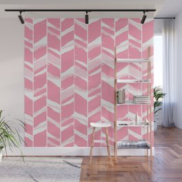 Modern abstract pink geometric brushstrokes chevron pattern Wall Mural