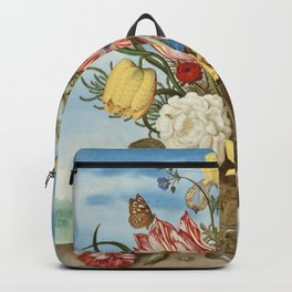 Bouquet of Flowers on a Ledge by Bosschaert Backpack