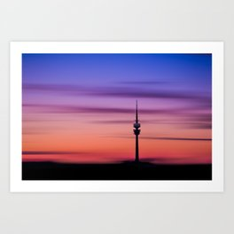 Munich Olympiaturm at sunset Art Print