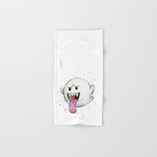 Boo Ghost Mario Watercolor Videogame Geek Painting Hand & Bath Towel