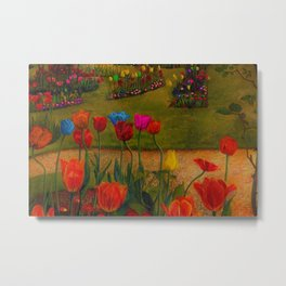 Classical Masterpiece 'Poppies and Tulips' Stanley Spencer Metal Print