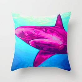 Painted Pink Shark Throw Pillow