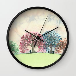 Rimini Whimsical Cats and Trees Wall Clock