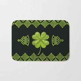 Irish Shamrock Four-leaf clover with celtic decor Bath Mat