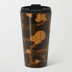 Modern Woodgrain Camouflage / Duck Print Metal Travel Mug