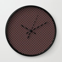Black and Rosette Polka Dots Wall Clock