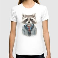 raccoon T-shirts featuring Raccoon by Leslie Evans