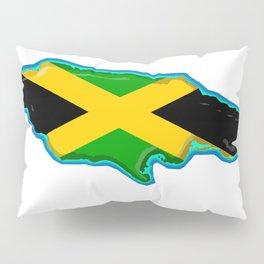 Jamaica Map with Jamaican Flag Pillow Sham