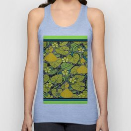Green Art Nouveau Vines Gourds Floral Teal Art Unisex Tank Top