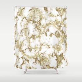 Golden glitter marble texture Shower Curtain