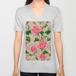 Pink Roses and Daises Spring Flowers Unisex V-Neck