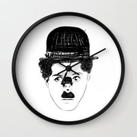 charlie chaplin Wall Clocks featuring Charlie Chaplin by creaziz