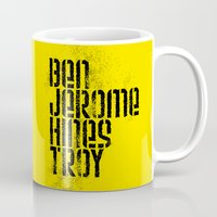 caleb troy Mugs featuring Ben Jerome Hines Troy / Gold by Brian Walker
