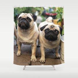 The Three Pugs Shower Curtain