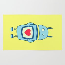 Cute Clumsy Robot With Heart Rug