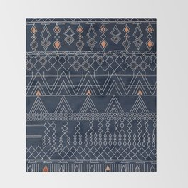 Blue Farmhouse Antique Traditional Moroccan Style Artwork Throw Blanket