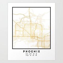 PHOENIX ARIZONA CITY STREET MAP ART Art Print