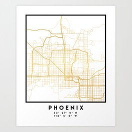 PHOENIX ARIZONA CITY STREET MAP ART Art Print