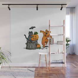 Happy Halloween with Cat, Bat, Dog and Spider Wall Mural