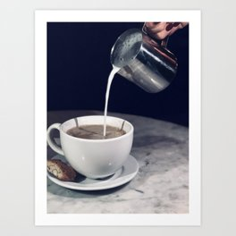 The love story of milk and coffee Art Print