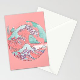 Great Wave Off Kanagawa Mount Fuji Eruption Pink and Teal Stationery Cards