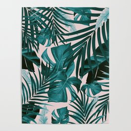 Tropical Jungle Leaves Pattern #3 #tropical #decor #art #society6 Poster