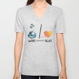 Wake Crochet Slay - Fiber Arts Quote Unisex V-Neck