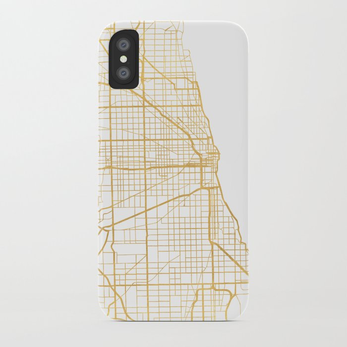 chicago illinois city street map art iphone case