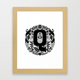 Letter Q monogram wildwood Framed Art Print