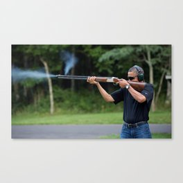President Barack Obama Shoots Clay Targets at Camp David Canvas Print