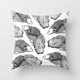 Siamese fighting fish pattern Throw Pillow